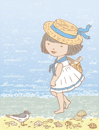 seacoast: The vector drawing of a little girl walking on seacoast.