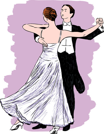A beautiful couple of the young people dancing Illustration