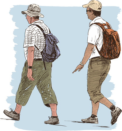 striding: Vector illustration of the hiking persons