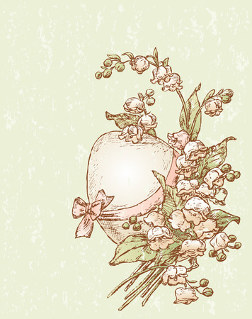 The vector drawing of an Easter egg in lilies bunch.