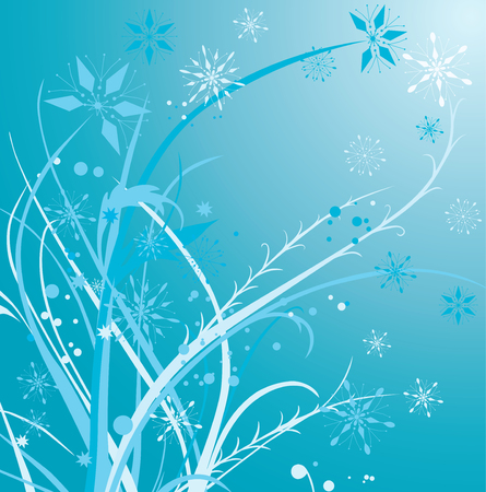 Winter background with a frozen decorative plants