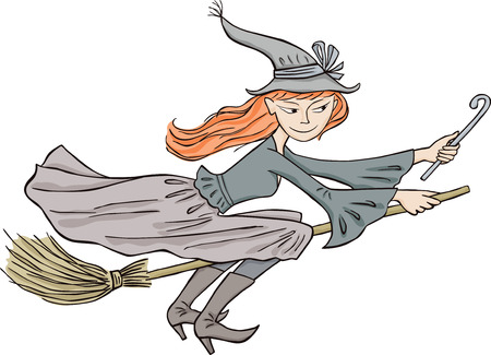 The vector image of a young redheaded  witch.