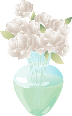 The vector image of a bouquet of a white roses in a glass vase.