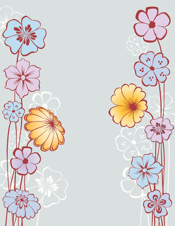 The vector background with the decorative flowers. Ilustrace