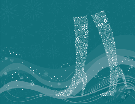 The vector background with the snowflakes in shape of the female boots.