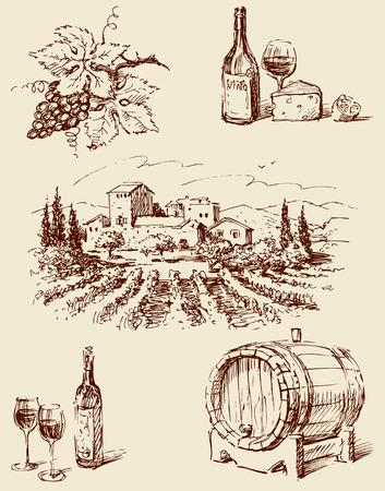 ワインを作るをテーマにベクトル図面。