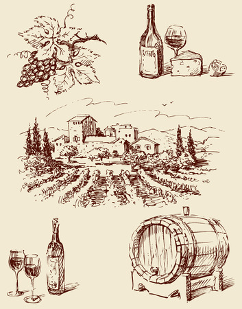 Vector drawings on the theme of wine making.