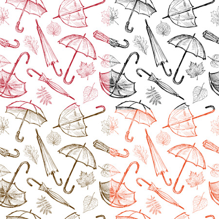 The vector pattern of the umbrellas and the fall leaves Illustration