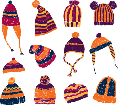 A collection of the different colorful knitted headwear