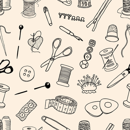 Vector pattern of the sewing kit
