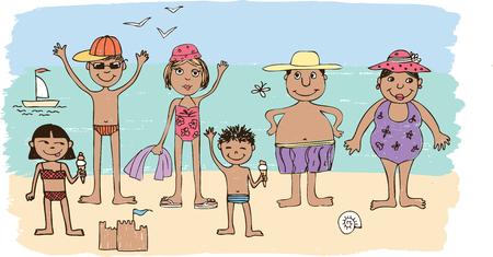Vector illustration of a cartoon family on the beach Illustration