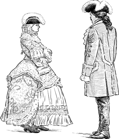 Sketch of the couple in the costumes of the 18th century