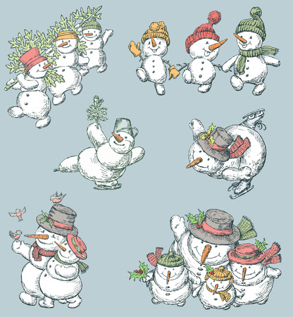 The collection of the cheerful snowmen