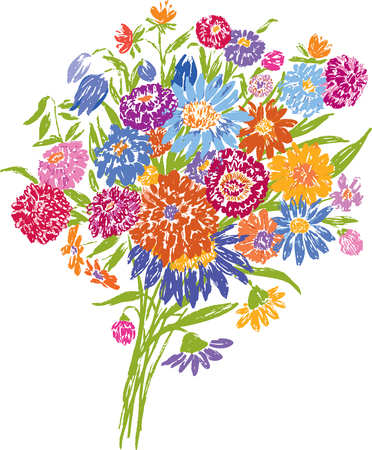 The vector drawing of the wildflowers bouquet Ilustração