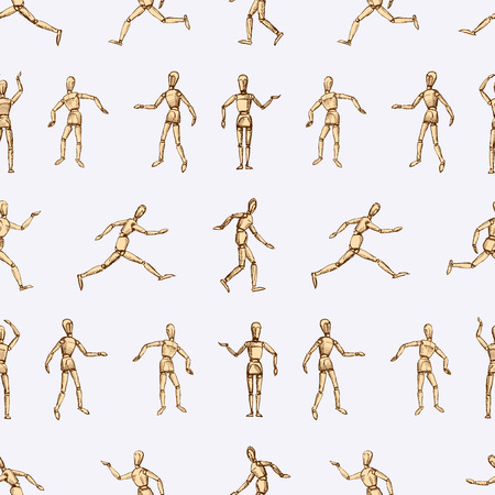 Vector images of human dummy in various positions.