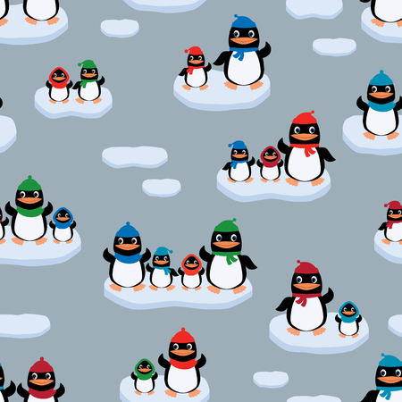 Vector pattern of the cartoon penguins on the ice floes