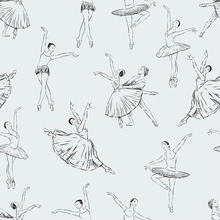 Vector pattern of the ballet dancers. Illustration