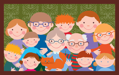 humorous: Vector image of the big friendly family.