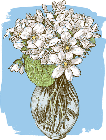 Vector image of a bouquet of the spring violets
