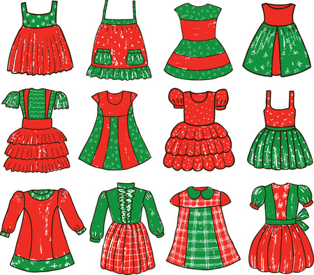 Vector drawings of the dresses for a little girl