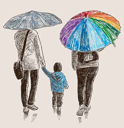 The vector image of a family walking in the rain