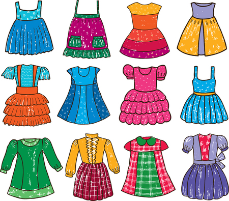 The different colorful dresses for a little girl