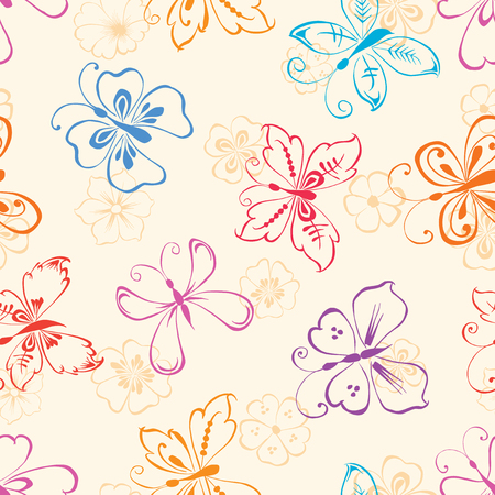 Vector pattern of the decorative butterflies and flowers.