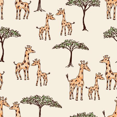Vector illustration of the cartoon giraffes in the savanna