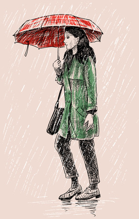 passerby: Vector illustration of a casual girl in the rain Illustration