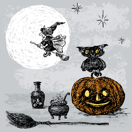 The symbols of the magical Halloween night