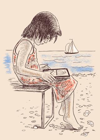 lia: Vector illustration of a little girl on the seashore