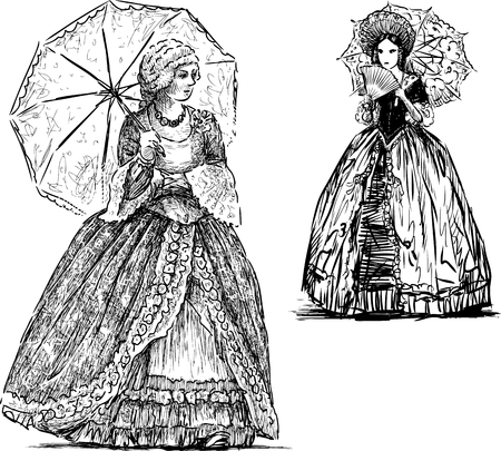 Sketches of the ladies in the historical dresses with the umbrellas