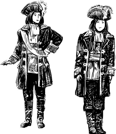 Sketches of the men in the theatrical costumes