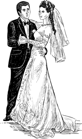 Vector drawing of the happy newlyweds