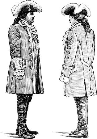 Sketches of the grandees men conversing