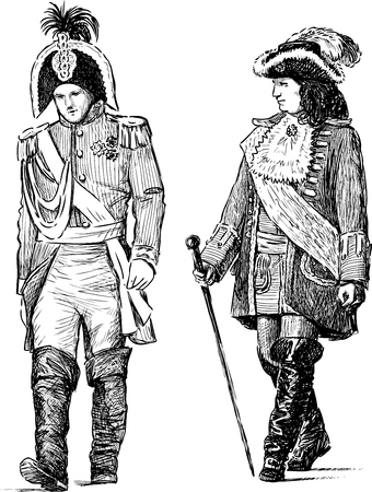 striding: Sketches of the persons in the historical costumes Illustration