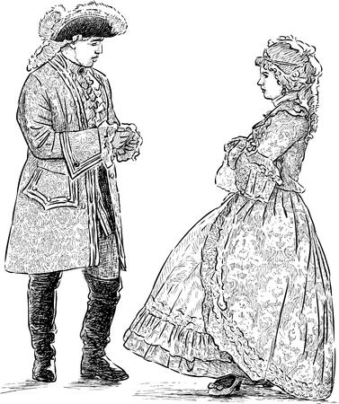 Schets van het paar in de historische kostuums