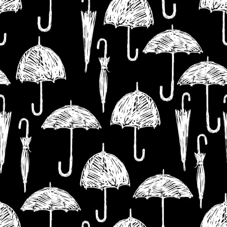 Vector background of the umbrellas sketches