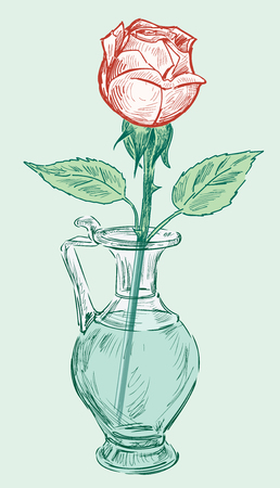 Hand drawing of a rose in a vase Illustration