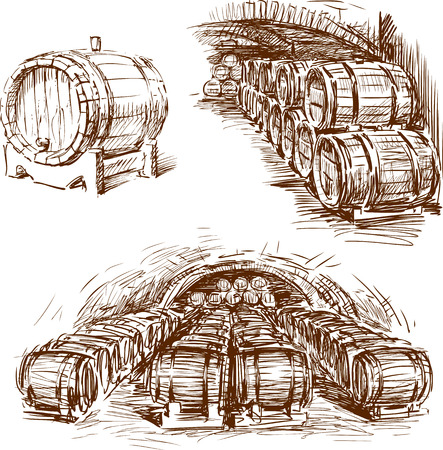 The sketches of the wine barrels
