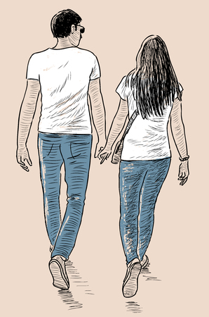 passerby: Vector drawing of a young couple townspeople on a stroll