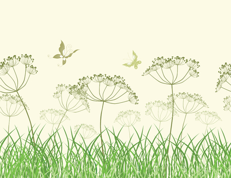 Vector image of the wildflowers in the grass in summer time