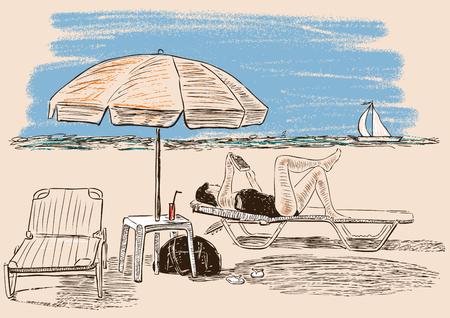 Vector illustration of a woman sunbathing on the beach Illustration