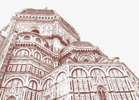 The cathedral of Santa Maria del Fiore on the Duomo square in Florence. 向量圖像