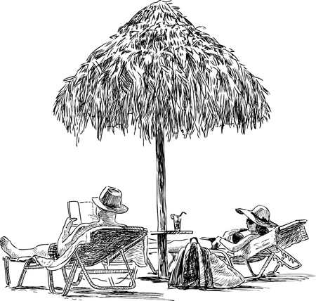 Sketch of the spouses on the beach sunbathing