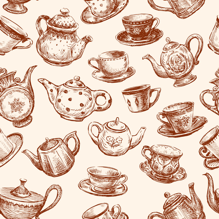 Vector background with a various teacups and teapots. Illustration