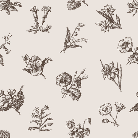다양 한 스케치 꽃의 벡터 패턴입니다.