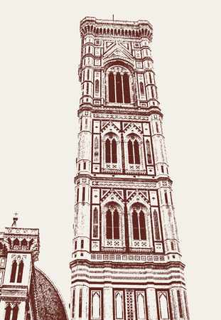 Giotto bell tower on the Duomo square in Florence