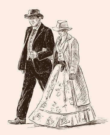 Boceto de las personas de la pareja en los trajes clásicos Foto de archivo - 82751473