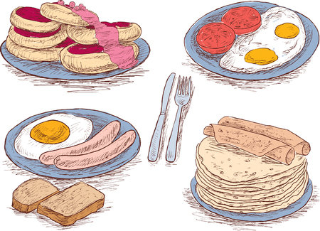 Hand drawings of the food for a breakfast Illustration